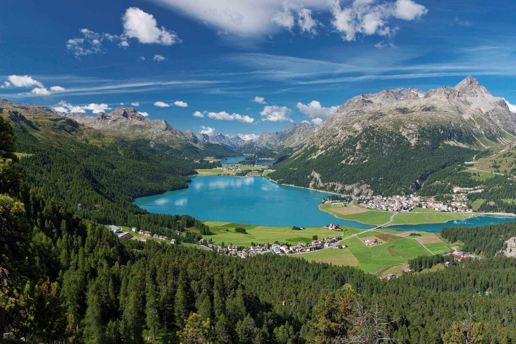 The view of Lake St. Moritz from Badrutt's Palace in the Swiss Alps.