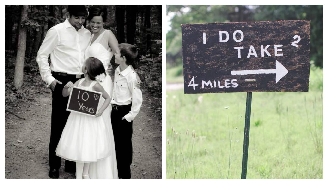 Couple with their children celebrating 10 years together and renewing their wedding vows
