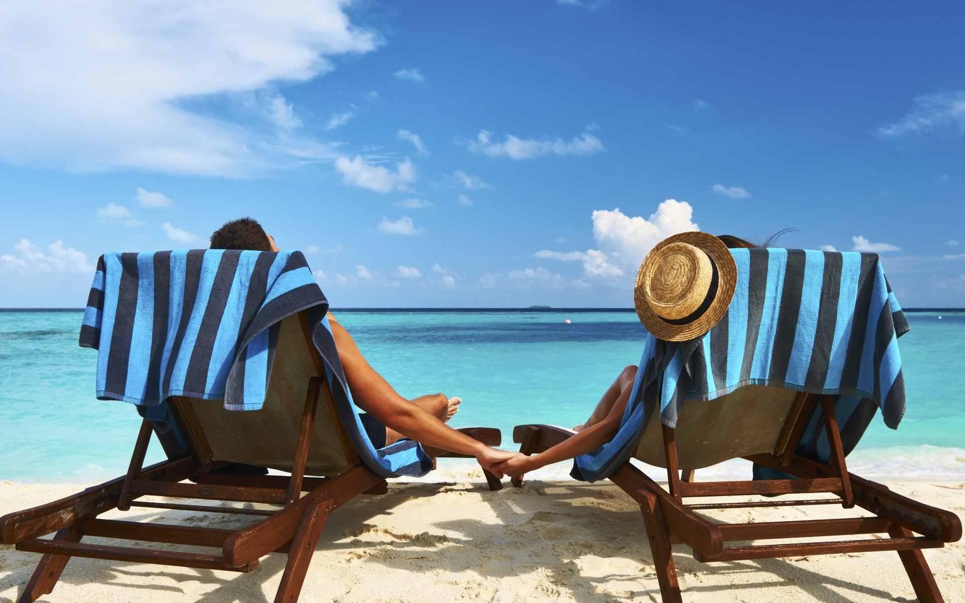 Couple man and woman on romantic holiday