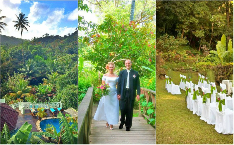 Ariel view of Fond Doux Plantation & Resort, St. Lucia | Bride and groom walking across a wooden bridge in the rainforest | Wedding ceremony set up with white chair covers and decorative bows in St. Lucia