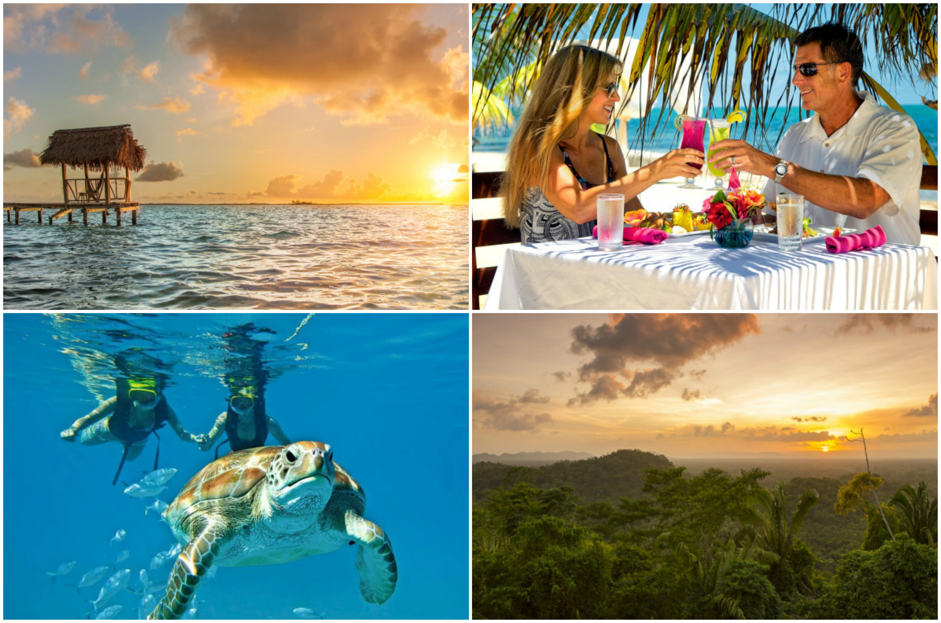 Sunset over the ocean | Couple sharing a romantic lunch on the beach | Couple snorkelling with turtle | Sunset over the rainforest in Belize