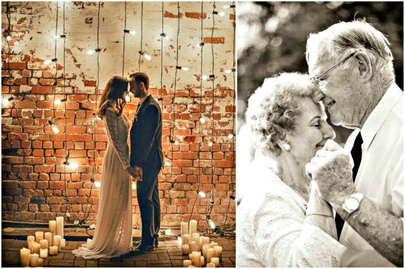 Bride and groom with candles and fairy lights | Older couple romantic dancing