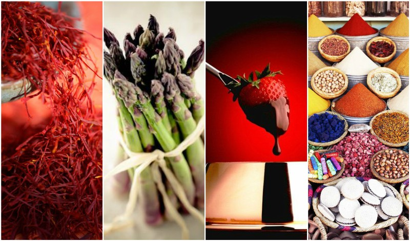 Saffron | Asparagus | Chocolate dipped strawberry | Moroccan spices