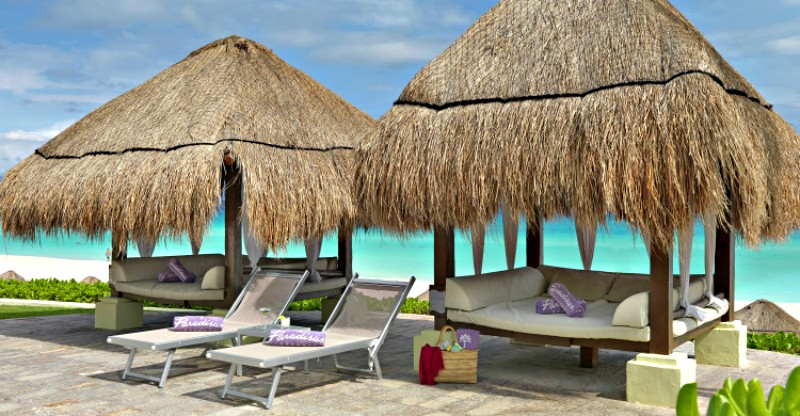 Luxury day beds by beach in Cancun, Mexico