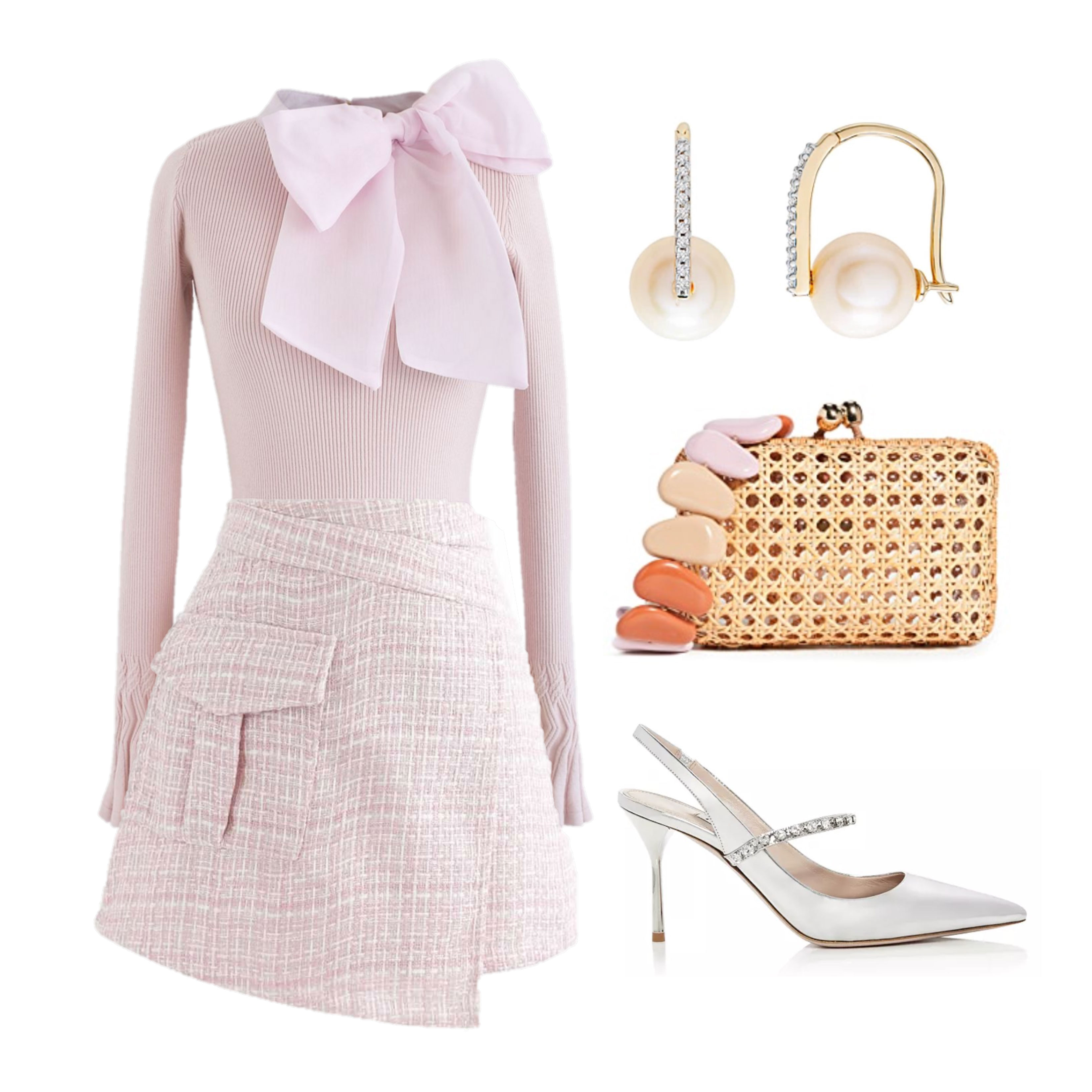 Cute Outfit with Pink Sweater and Skirt