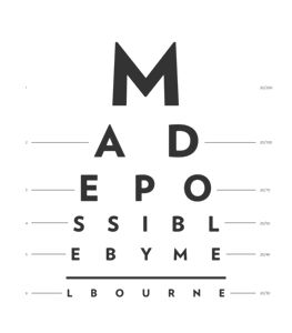 eye chart reading 'Made possible by Melbourne'