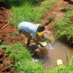 The Water Project: Nyira Community, Ondiek Spring -  Scooping Water