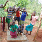 The Water Project: Nyira Community, Ondiek Spring -  Precious Muyonga Leads Team Of Friends To Show Thumbs Up For The New Sanitation Platform