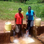 The Water Project: Mudete Community, Wadimbu Spring -  Beverlyne Akadanya And Field Officer Lillian Achieng