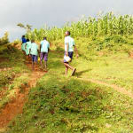 The Water Project: Ingwe Primary School -  Students Carrying Water Back