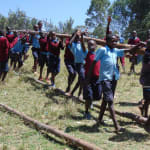The Water Project: Kapkemich Primary School -  Children Carrying Wood To The Construction Site