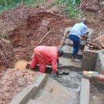The Water Project: Hirumbi Community, Khalembi Spring -  Stairs Take Shape