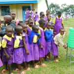 The Water Project: Kapkures Primary School -  Girls Line Up To Wash Hands