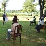 The Water Project: Shitaho Community, Andrea Kong'o Spring -  Ensuring Social Distance At The Training