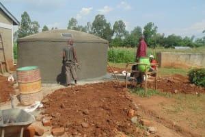 The Water Project: Lureko Primary School Rain Water Harvesting Tank and VIP Latrine -