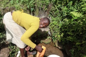 The Water Project: Shitungu Community, Hessein Spring -  Woman Fetching Water