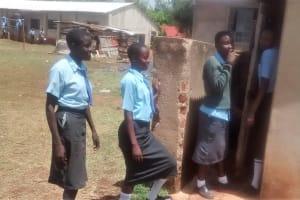 The Water Project: Ebukanga Secondary School -  Girls Waiting For Latrines