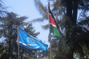 The Water Project: Ikonyero Secondary School -  School Flag With Kenyan Flag