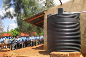 The Water Project: Ebukanga Secondary School -  Plastic Tank And Lunch Line