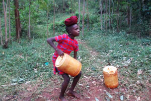 The Water Project: Kidinye Community, Wamwaka Spring -  Trying To Lift Full Jerrycan