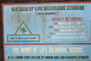 The Water Project: Word of Life Bilingual School -  School Sign