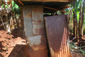 The Water Project:  Latrine Made From Iron Sheets