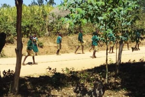 The Water Project: Kalenda Primary School -  Fetching Water