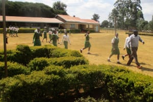 The Water Project: Kapchemoywo Girls Secondary School -  Going To Attend Class Outside