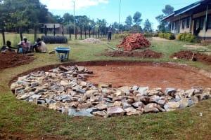 The Water Project: Bumira Secondary School -  Setting Tank Foundation