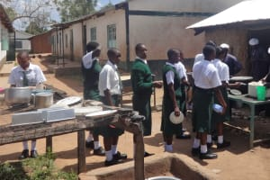 The Water Project: Ibinzo Girls Secondary School -  Students Line Up For Lunch