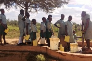 The Water Project: Eshisuru Primary School -  Lined Up For Water