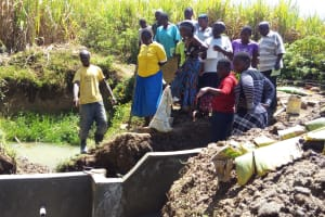 The Water Project: Emarembwa Community, Nyangweso Spring -  Artisan Explaining The Spring Protection