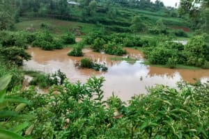 The Water Project: Eluhobe Community, Amadi Spring -  Heavy Rains In The Area Caused Floods Disrupting With The Construction Process