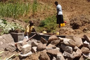 The Water Project: Mwinaya Community, Severe Spring -  Construction