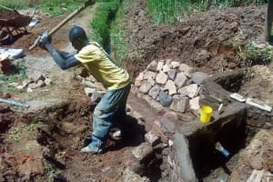The Water Project: Bumavi Community, Shoso Mwoga Spring -  Artisan Digs Around The Spring