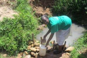 The Water Project: Mulundu Community, Fanice Mwango Spring -  Mrs Fanice Fills Her Water Jugs At The Puddle