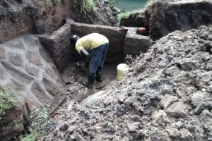 The Water Project: Emarembwa Community, Nyangweso Spring -  Construction