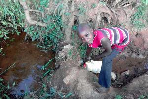 The Water Project: Igogwa Community -  Christine Fetching Water