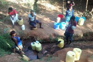 The Water Project: Wamuhila Community, Isabwa Spring -  Morning Line At Isabwa Spring