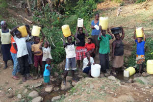 The Water Project: Mumuli Community, Shalolwa Spring -  Community Members With Their Jerrycans