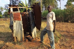 The Water Project: Mumuli Community, Shalolwa Spring -  Mr Francis Next To His Latrine