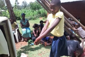 The Water Project: Shikhuyu Community -  Jessica Practices Hand Washing
