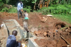 The Water Project: Mutambi Community, Kivumbi Spring -  Construction