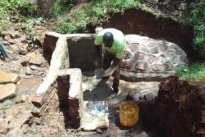 The Water Project: Visiru Community, Kitinga Spring -  Spring Protection Construction