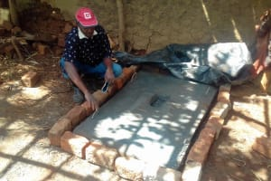 The Water Project: Igogwa Community -  Mr Benard Poses At His New Sanitation Platform