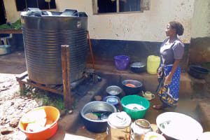 The Water Project: Ebubayi Secondary School -  School Cook And Plastic Tank