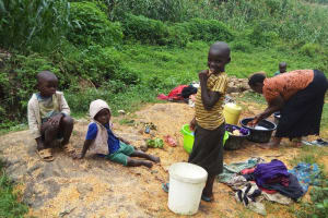 The Water Project: Bushevo Community, David Enani Spring -  Bustle Around The Spring