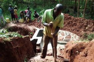 The Water Project: Wamuhila Community, Isabwa Spring -  Building The Stairs