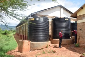 The Water Project: Uvaani Secondary School -  Plastic And Broken Tanks