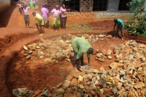 The Water Project: Lwangele Primary School -  Building The Tank Foundation